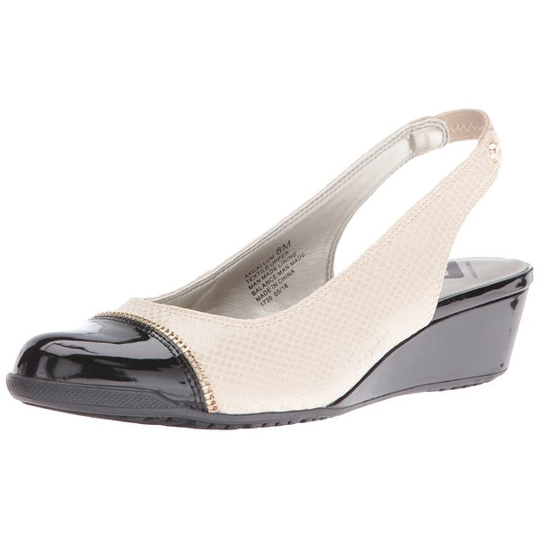 AK Anne Klein Sport Women's Callum Fabric Wedge Pump, Ivory/Black, Size 6.0