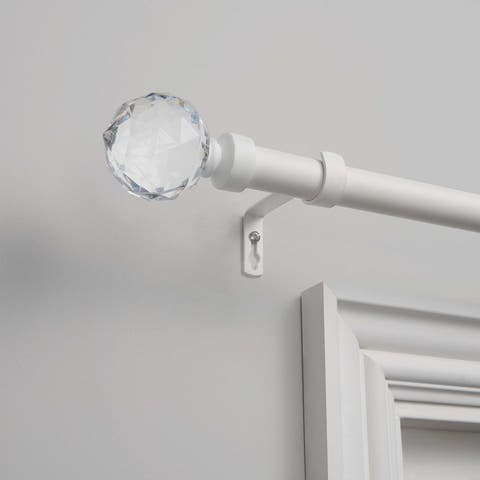 """ATI Home Crystal Ball 1"""" Curtain Rod and Finial Set"""