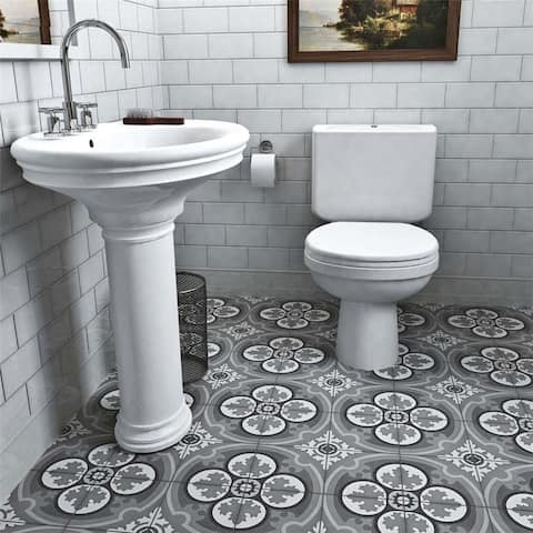 SomerTile 7.875x7.875-inch Cement Queen Mary Storm Cement Floor and Wall Tile (12 tiles/5.5 sqft.)