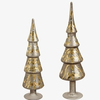Set of 2 Silver and Gold Glitter and Jewel Tree-Shaped Finial Table Top Christmas Decorations
