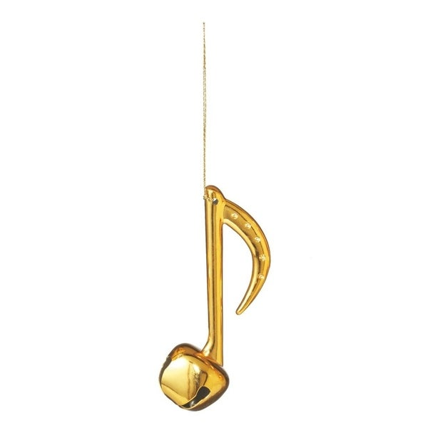 """4.25"""" Shiny Gold Eighth Musical Note Jingle Bell Christmas Ornament"""