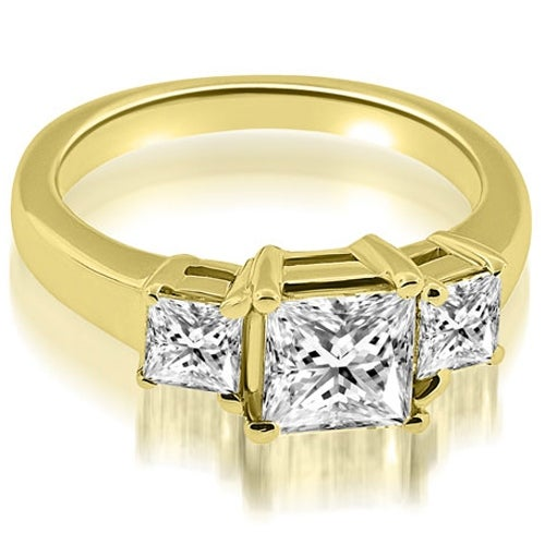1.80 cttw. 14K Yellow Gold Classic Princess Cut 3-Stone Diamond Engagement Ring