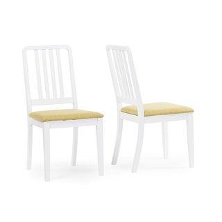 Jasmine Mid-century Modern White/Green Fabric Dining Chair - 2 Chairs