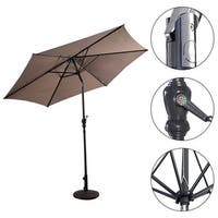 Costway 10FT Patio Umbrella 6 Ribs Market Steel Tilt W/ Crank Outdoor Garden Tan