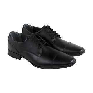 Calvin Klein Bachman Mens Black Leather Casual Dress Lace Up Oxfords Shoes