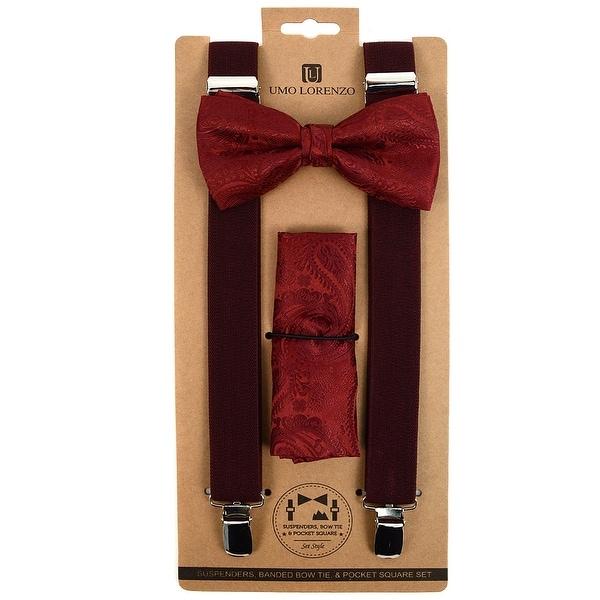 560bc51d0 Shop 3pc Men s Burgundy Paisley Banded Suspenders