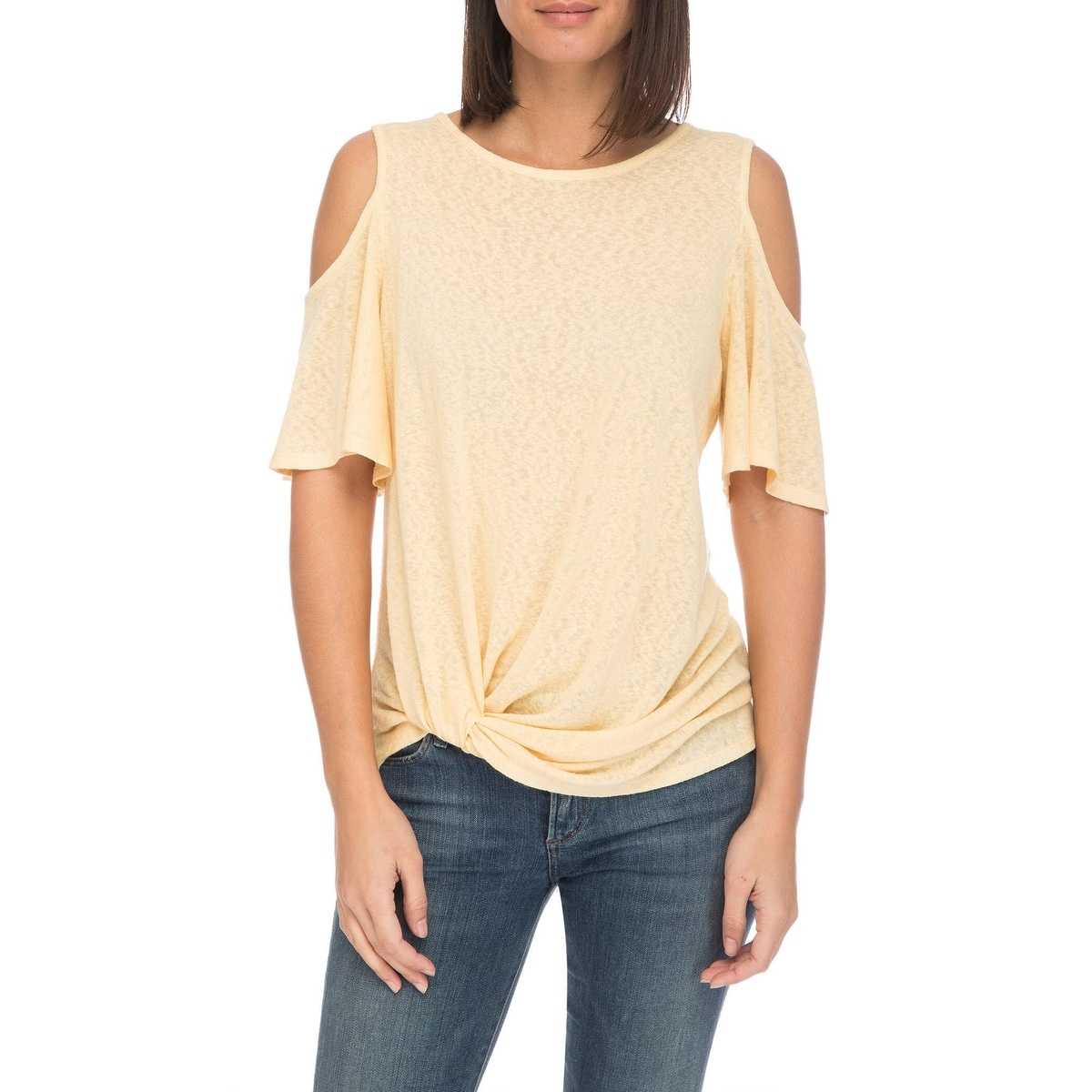 Bobeau Alison Side Knot Cold Shoulder Tee