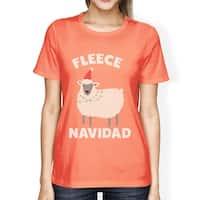 Fleece Navidad Womens Peach Cotton Made Cute Christmas Gift Tee