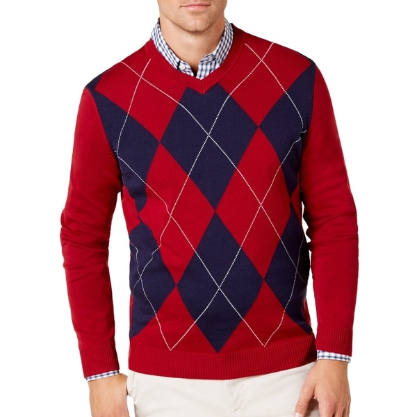 3bb366e29d3e Shop Club Room Mens Medium Argyle Knit V-Neck Sweater - Free Shipping On  Orders Over $45 - Overstock - 28461476