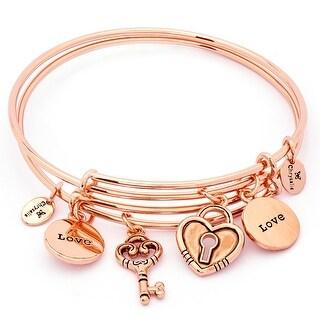 Set of Two Of A Kind Love Adjustable Charm Bangle Bracelets For Women, Rose Gold Plated