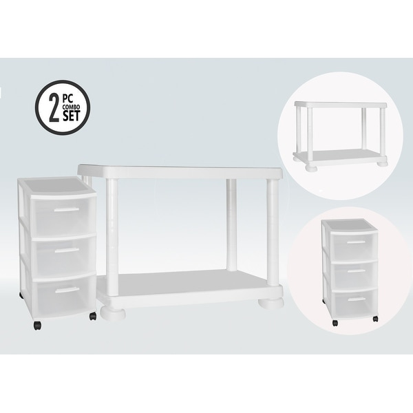 MQ 2-Tier Storage Shelf with Rolling Storage Cart. Opens flyout.