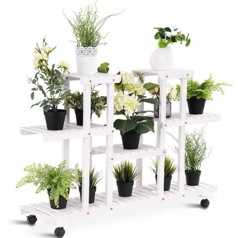 4-Tier Rolling Flower Rack Wood Plant Stand Casters 12 Pots Bonsai