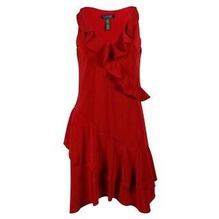 Ralph Lauren Women's Sleeveless Ruffled Dress - madison red