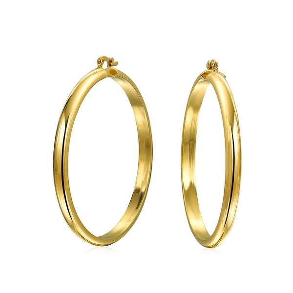 Shop Basic Round Half Tube Hoop Earrings for Women High Polish 18K Gold  Plated Brass 2.5 Inch Dia - Free Shipping On Orders Over  45 - Overstock -  17985791 57b5d4e4d3ae