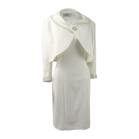 Tahari ASL Women's Embellished Dress Suit - Cloud