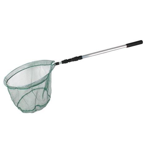 "Unique Bargains 50"" x 1"" Nylon 3 Sections Telescopic Handle Landing Net Fishing Fish Angler Mesh Green Black Silver Tone"