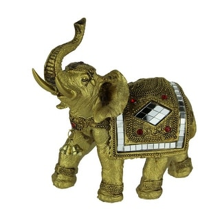 Golden Decorated Eastern Elephant Statue - 6 X 6.25 X 3 inches