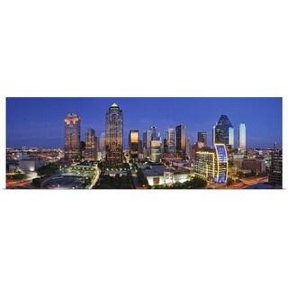 """Dallas Skyline, Texas"" Poster Print"