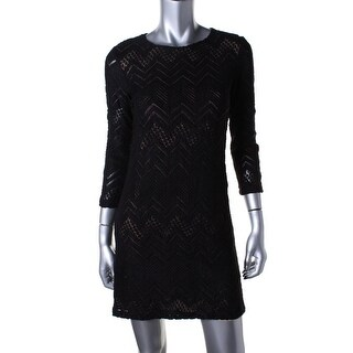 Studio M Womens Wool Blend Open Stitch Mini Dress