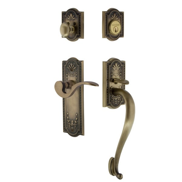 Nostalgic Warehouse MEAMAN_ESET_234_SG_LH Meadows Left Handed Sectional Single Cylinder Keyed Entry Handleset with S Grip and