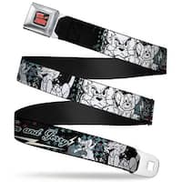 Tom And Jerry Logo Full Color Black Red Tom & Jerry Face & Pose Sketch Seatbelt Belt