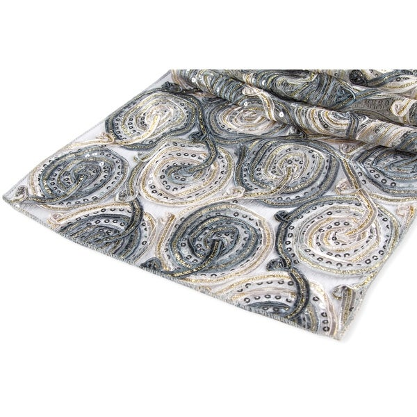 """12 Pieces, Ribbon Embroidery w/Sequin Table Runner Approx. 12""""x108"""" Material: Polyester, Organza, Sequin - Silver"""