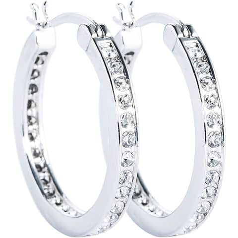 Silver/Gold Overlay Cubic Zirconia Hoop Earrings by Simon Frank Designs