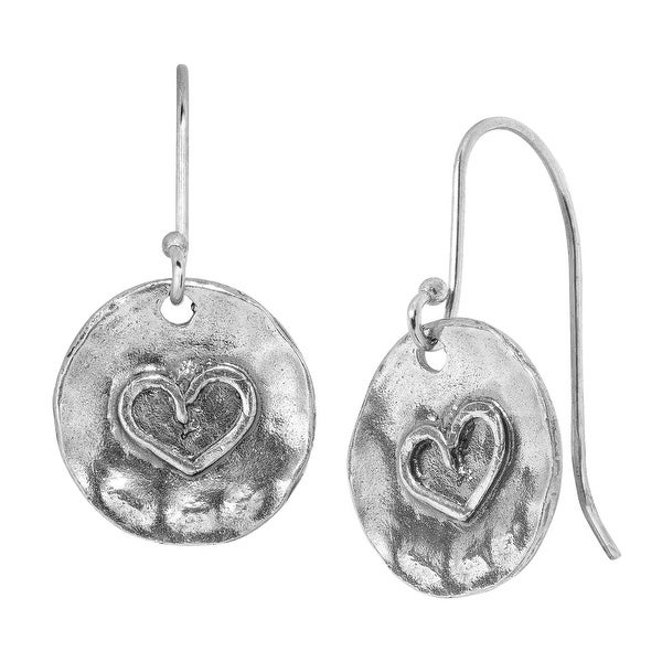 Hammered Heart Drop Earrings in Sterling Silver