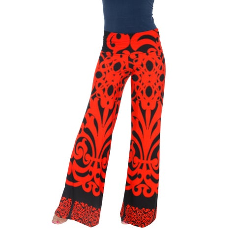 Printed Palazzo Pants - Orange & Black
