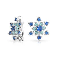 Bling Jewelry Blue CZ Winter Snowflake Clip On Earrings Rhodium Plated