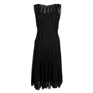 S.L. Fashions Women's Mesh Satin Dress - Black - 14