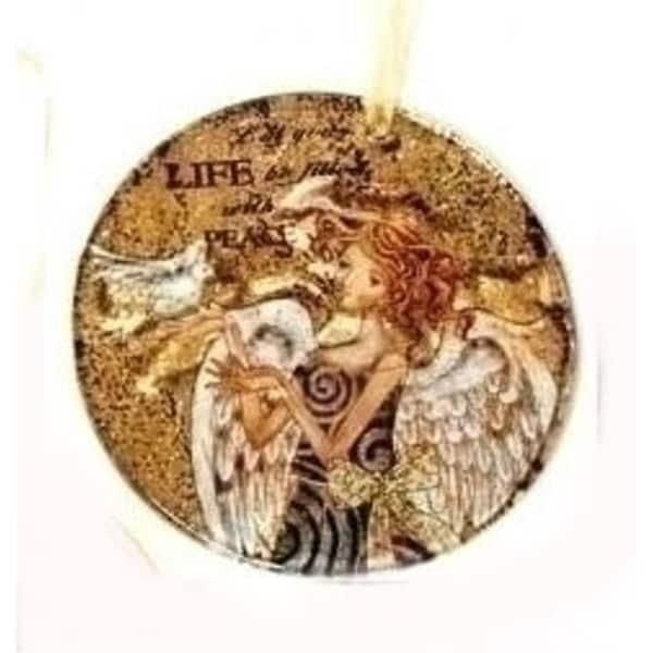 "3.75"" Royal Symphony Inspirational Rustic Circle Angel Glass Christmas Ornament - GOLD"
