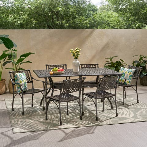 Ridgecrest Traditional Outdoor Aluminum 7 Piece Dining Set by Christopher Knight Home