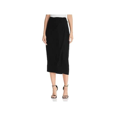 Donna Karan Womens Midi Skirt Velvet Faux Wrap