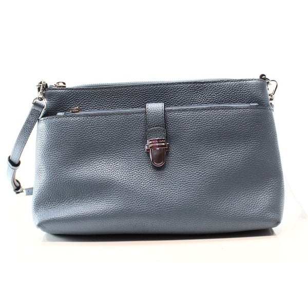 d67886f8a03e ... best price michael kors new blue denim mercer snap pocket crossbody  handbag purse cab79 50205 ...