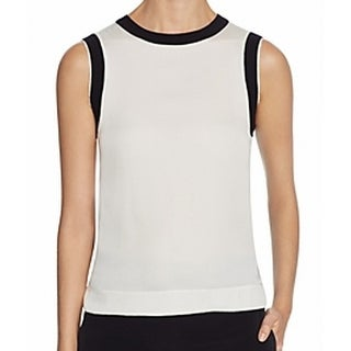 DKNY NEW White Women's Size Large L Ribbed Trim Silk Tank Blouse