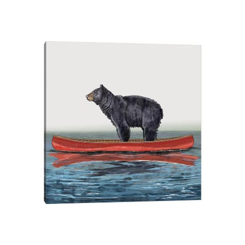"iCanvas ""Bear In Canoe"" by Carolynn Elshof Canvas Print"
