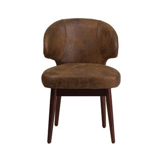 Offex Comfort Back Series Bomber Jacket Microfiber Reception-Lounge-Office Chair with Walnut Legs