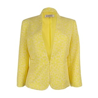 Kasper Women's Jacquard Floral Print Jacket (Daffodil/White, 4) - 4