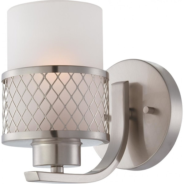 Nuvo Lighting 60/4681 Fusion Single Light Bathroom Fixture with Frosted Glass - Brushed nickel