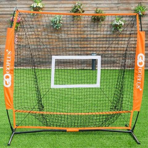Goplus 5'x5' Baseball Softball Practice Hitting Batting Training Net