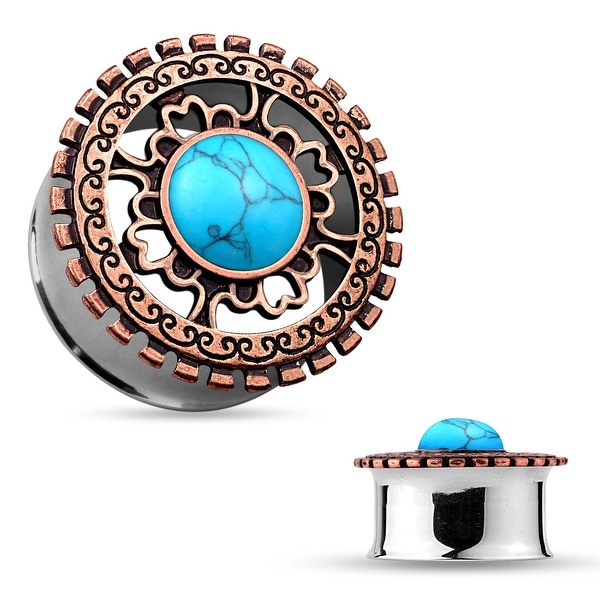 Turquoise Antique Bronze IP Tribal Shield Top Surgical Steel Flared Tunnel (Sold Ind.)