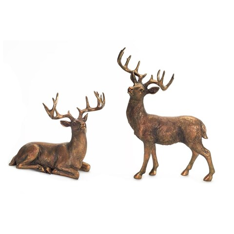 Set of 2 Antique Styled Standing and Sitting Deer Tabletop Figures 20.75""