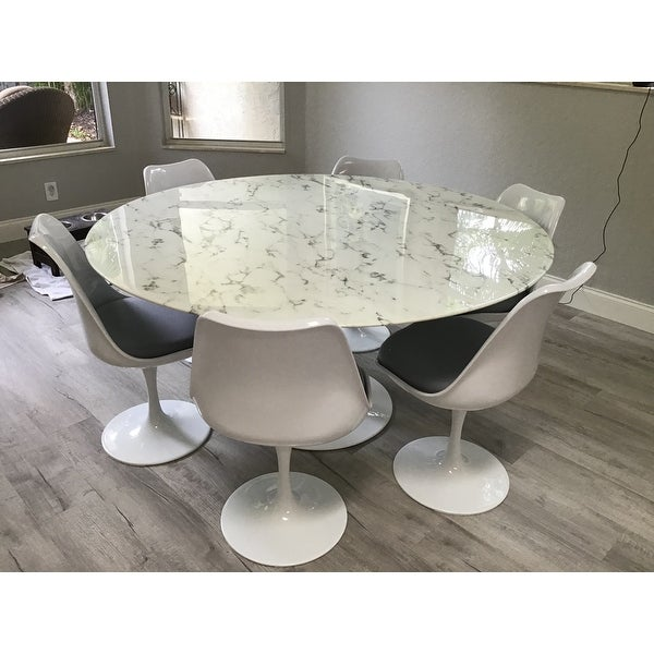 Top Product Reviews For Lippa 60 Inch Round White Artificial Marble Dining Table 9632755 Overstock