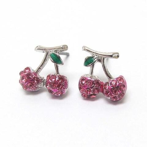 Premier Electro Plating Crystal Cherry Earrings