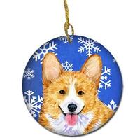 Corgi Winter Snowflakes Holiday Christmas Ceramic Ornament