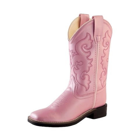 Old West Cowboy Boots Girls Broad Square Toe Shine TPR Pink