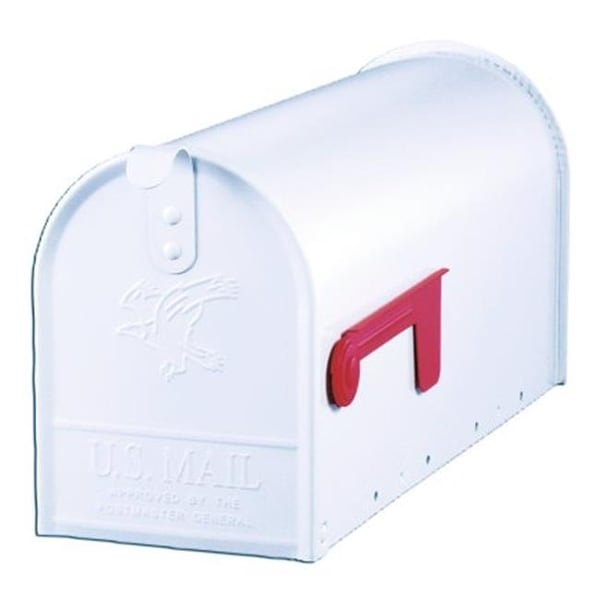 Town Square Curbside Mailbox with Paper Tube, White
