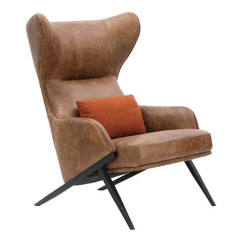 Aurelle Home Modern Wingback Brown Leather Accent Chair