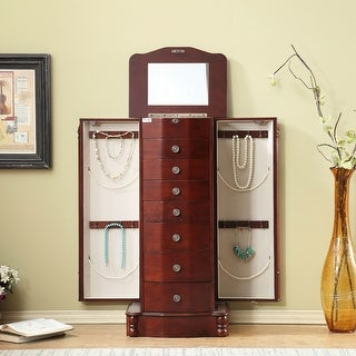 Link to Wood Cabinet Standing Jewelry Armoire with Mirror Similar Items in Bedroom Accents